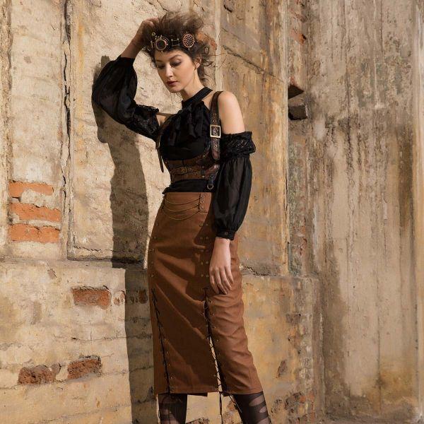 Viktorianische Cold-Shoulder Bluse mit Tüllärmeln