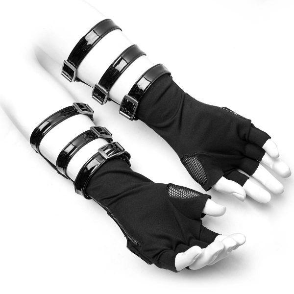 Fetisch Lack Armstulpen mit Netz und Nieten