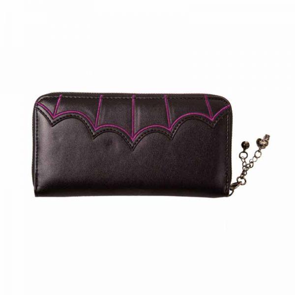 Geldbörse in Lederotik mit Fledermäusen - Purple Bats