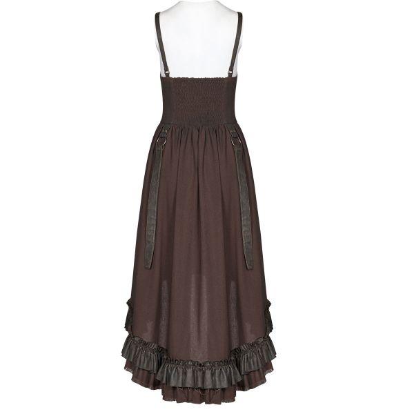 Vokuhila Steampunk Corsagen Kleid mit raffbarem Rock