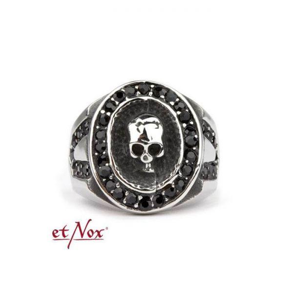 Ring mit Totenkopf und schwarzen Steinen