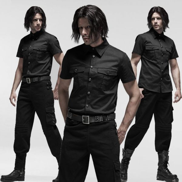 Hemd im Uniform Look mit verzierten Knöpfen