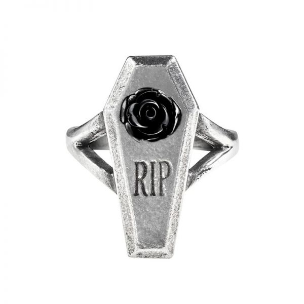 RIP Rose Ring in Sarg-Form mit schwarzer Rosenblüte