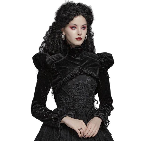 Gothic Lolita Samt Bolero im Frack Stil mit Stehkragen