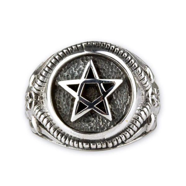Pentagramm Silber Siegelring mit Ram Skull Ringschiene
