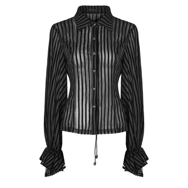 Transparente Nadelstreifen Bluse mit Rüschenärmeln