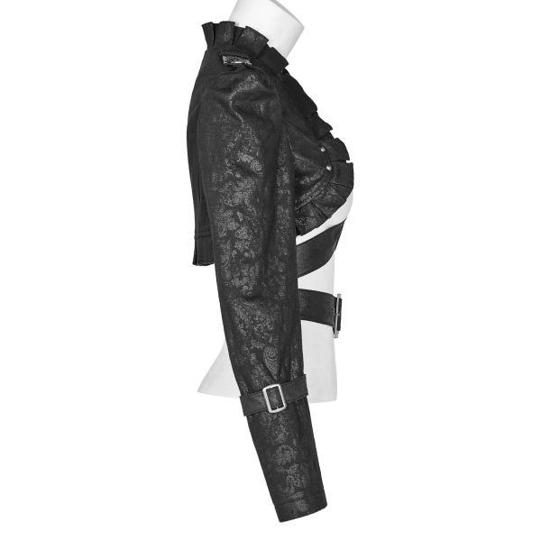 Lederimitat Uniform Bolero mit Epauletten und Riemen