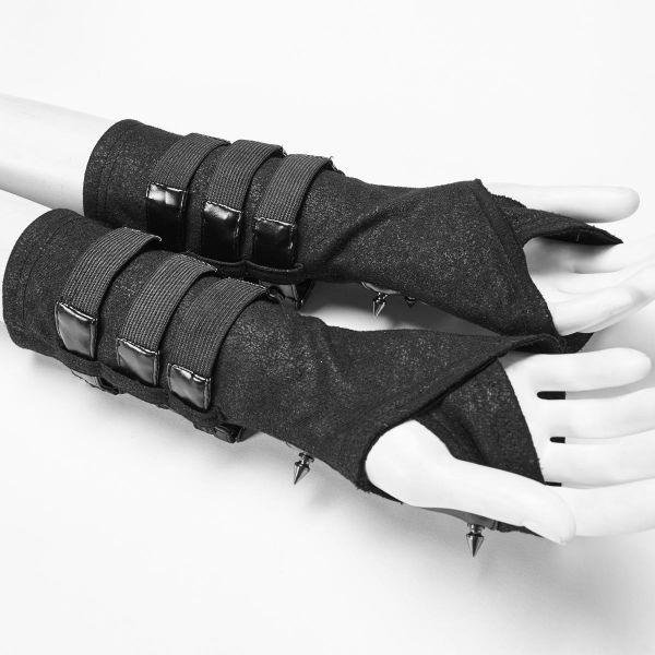 Armstulpen im Industrial Look mit Schnallen und Nieten