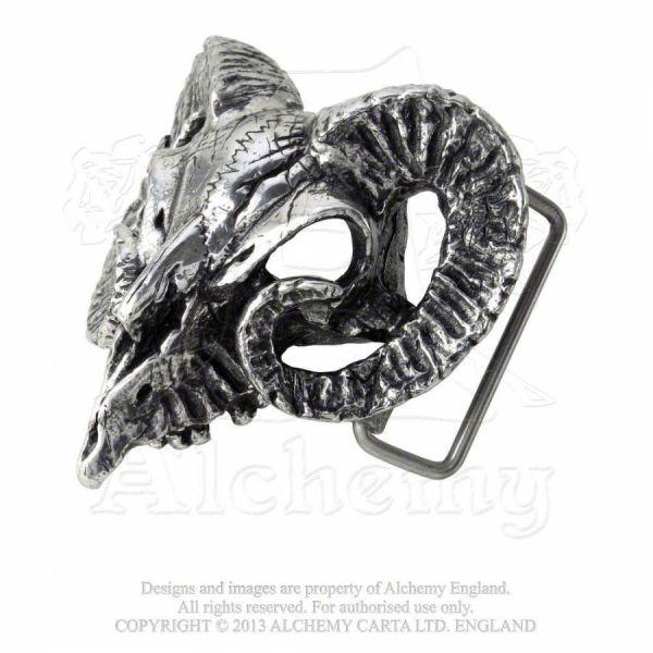 Gothic Gürtelschnalle - Rams Skull