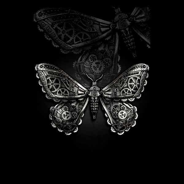 Silberfarbene Steampunk Butterfly Haarspange Motte