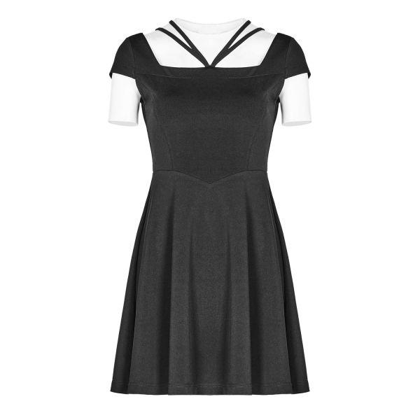 Schwarzes Shirtkleid mit Glockenrock und Spitze