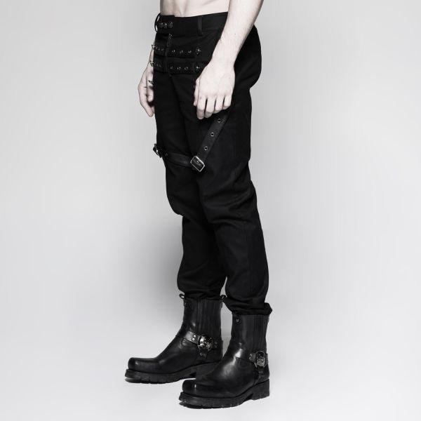 Gothic Hose im Military Look mit Riemen und Nieten