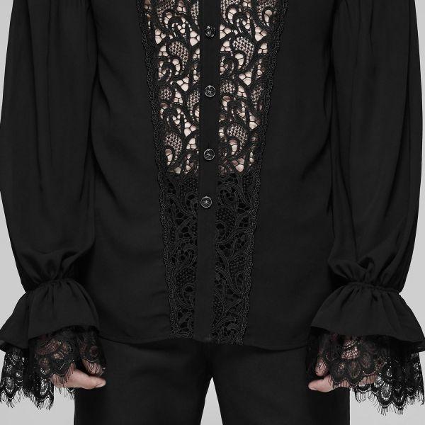 Hemd in transparentem Look mit Häkelspitze und Rüschen