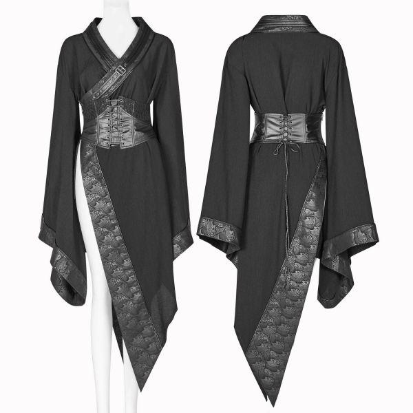 Dark Geisha Kimono mit Taillengürtel und Lederimitat