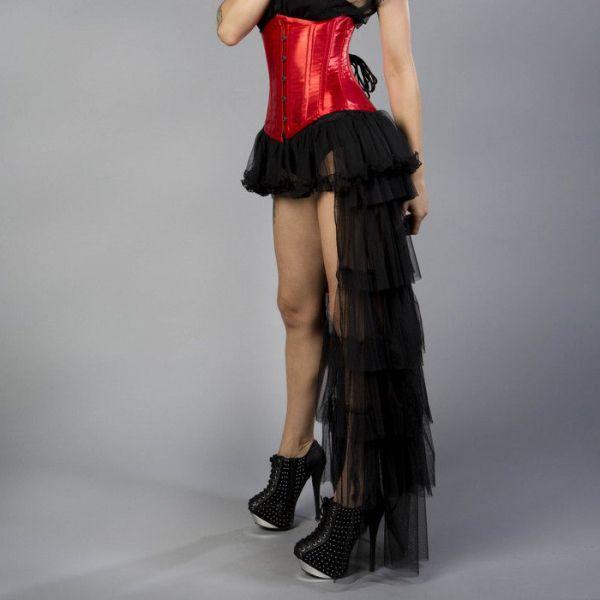Schwarzer Burlesque Tüllrock im Vokuhila Look