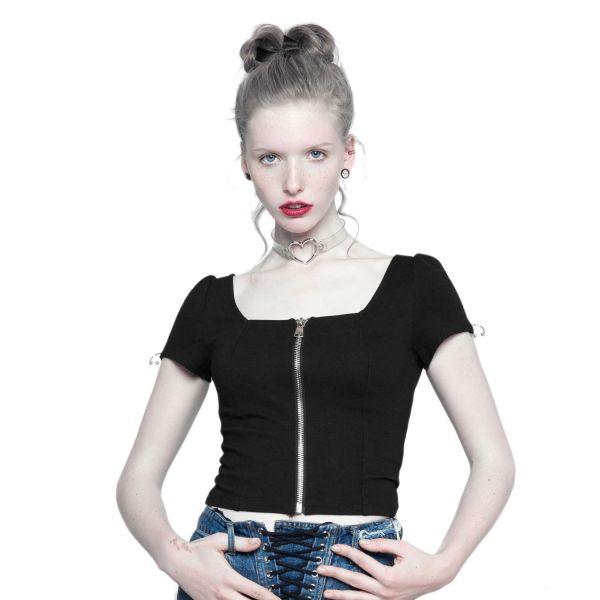 Daily Goth T-Shirt mit Zipper und Piercing Verzierung