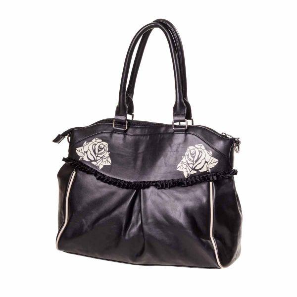Rockabilly Handtasche in Lederoptik mit Totenköpfen