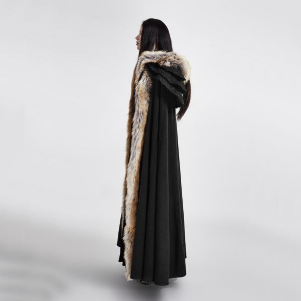 Langer schwarzer Umhang mit Kapuze und Kunstfell