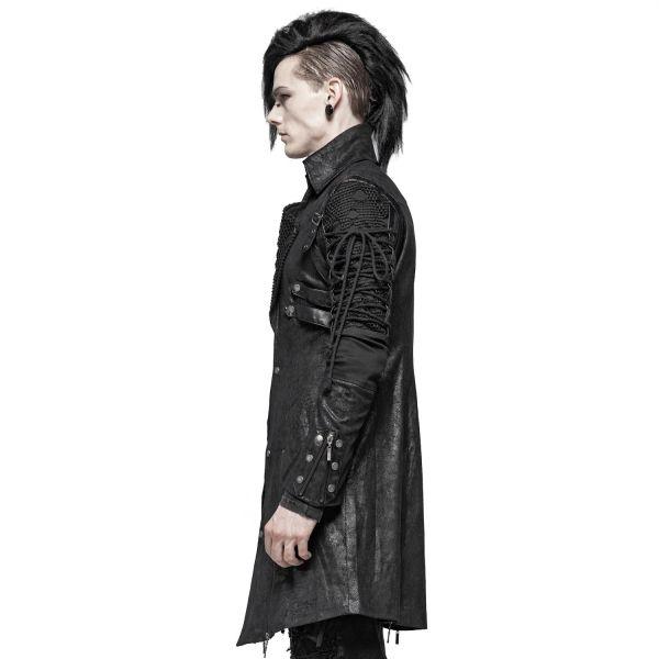 Steampunk Mantel schwarz im Vintage Lederlook