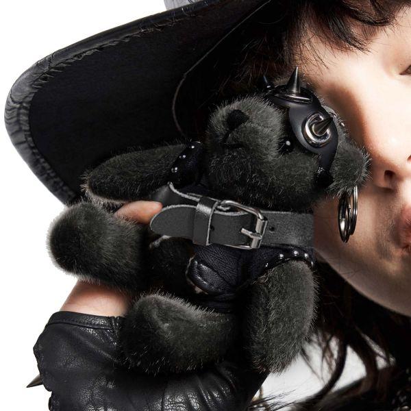 Gothic Teddybär mit Lederjacke und Schlüsselring