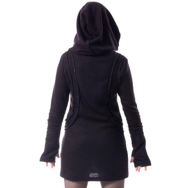 Gothic Shirt-Kleid mit Kapuze und Daumenlöchern
