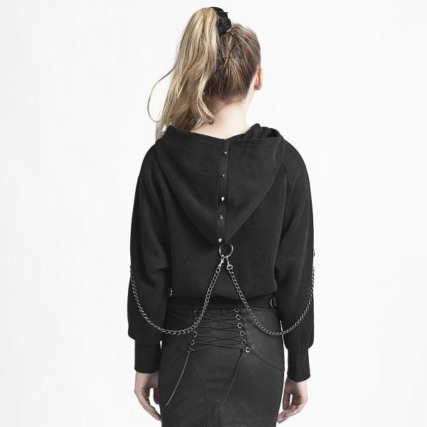 Gothic Kapuzenshirt mit Nieten und abnehmbaren Ketten