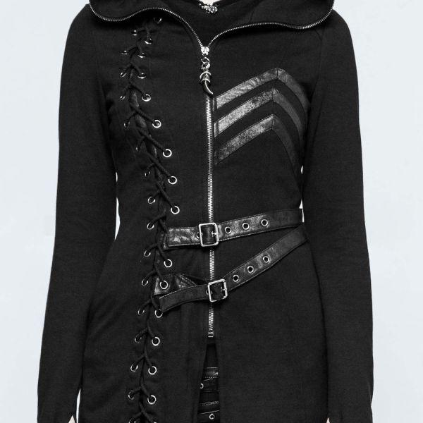 Gothic Kapuzenmantel mit Schnürung im Warrior Look
