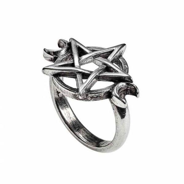 Goddess Wicca Ring mit Mondphasen und Pentagramm