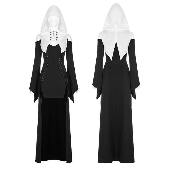 Sexy Nonne Vokuhila Cosplay Kleid mit Kapuze
