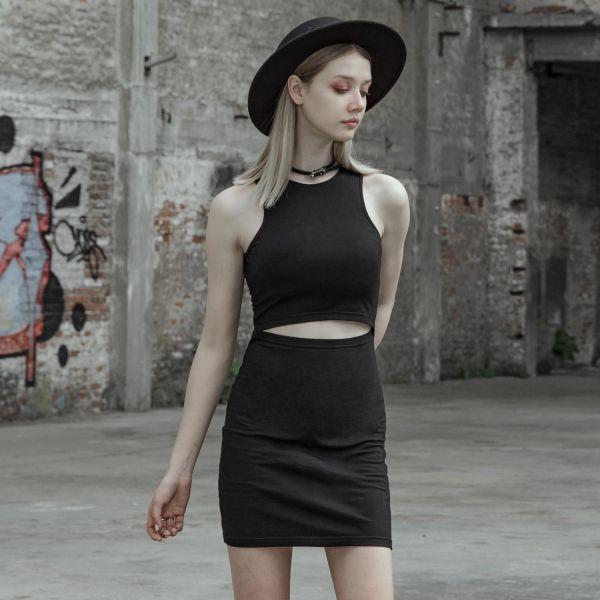 Sexy Minikleid im Layering-Look mit Cold-Shoulder Netz