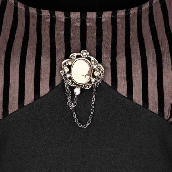 Steampunk Blusentop mit Puffärmeln und Brosche