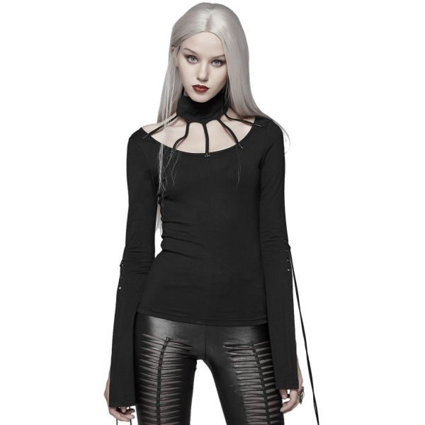 Gothic Shirt mit Cut-Outs im Käfig Style und Halsband