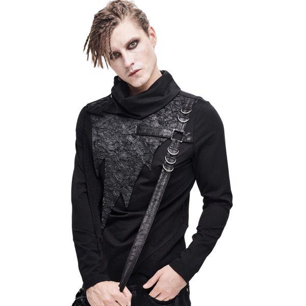 Industrial Punk Shirt mit Schalkragen und Kunstleder