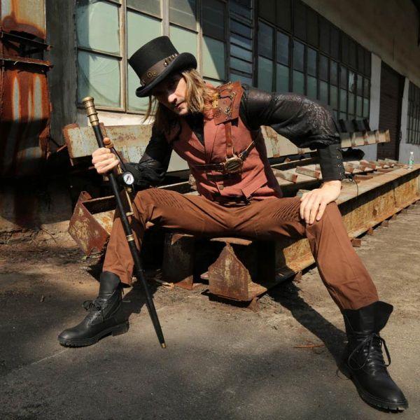 Steampunk Weste mit Epauletten und Schnallen