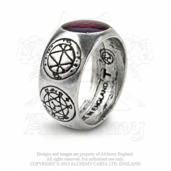 Mystischer Bandring mit Talisman Symbolen - Agla