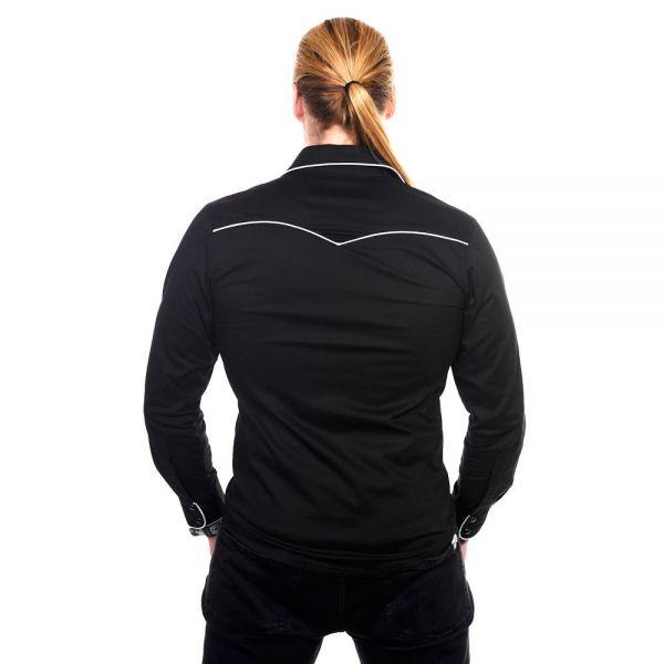 Schwarzes Slim Fit Hemd mit weissen Ziernähten Bat Style