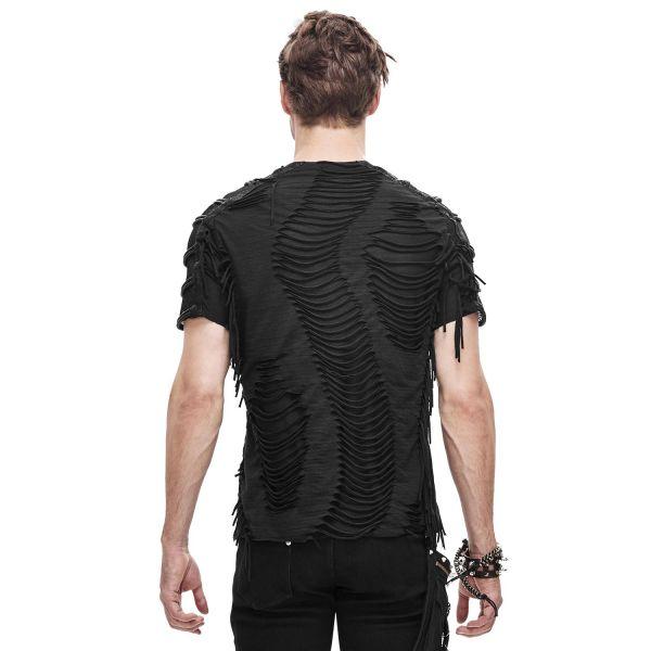 Zerschlitztes T-Shirt mit Netz und Nieten