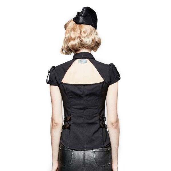 Military Bluse schwarz mit sexy Dekollete