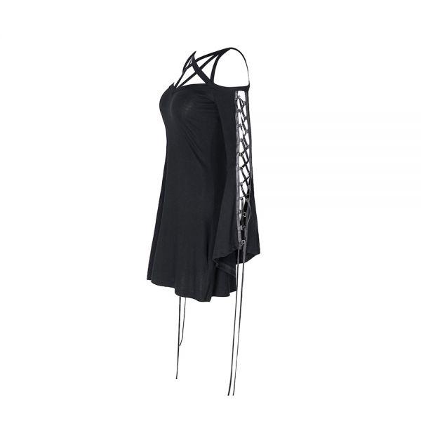 Gothic Style Minikleid mit Pentagramm und Schnürärmeln