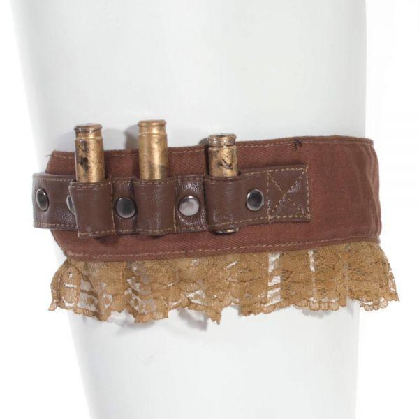 Braunes Steampunk Strumpfband in Patronengürtel Optik
