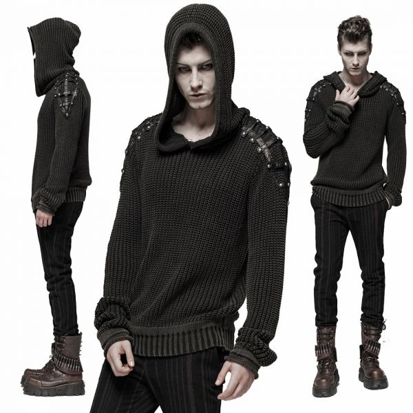 Post Apocalyptic Strick Pullover mit Kapuze