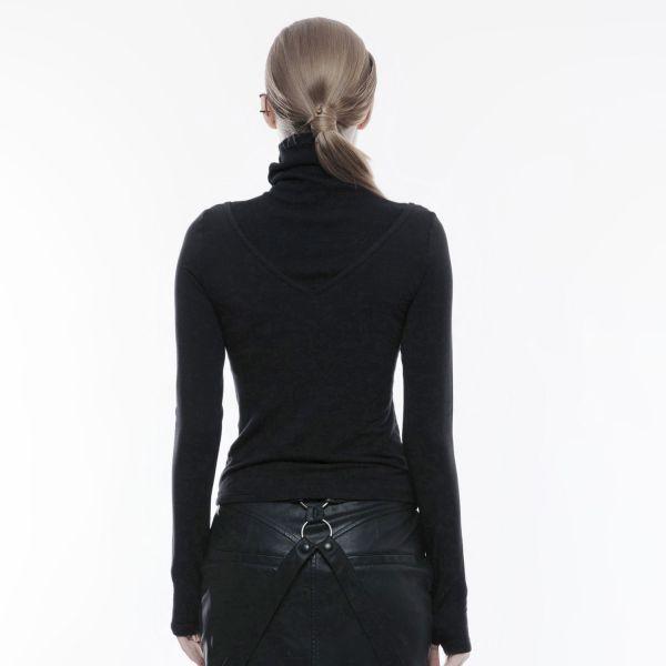 Rollkragen Shirt im Gothic Style mit Daumenlöchern