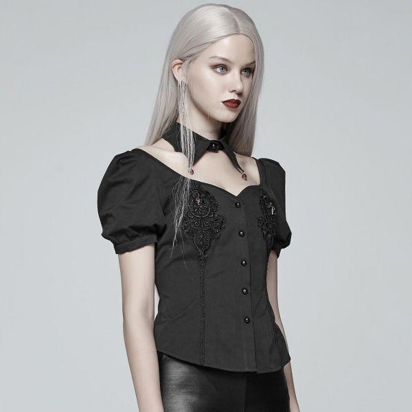 Bluse im Vampire Style mit Fledermauskragen Halsband