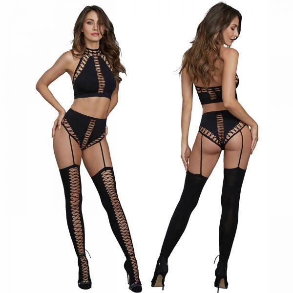 Sexy Gogo Straps Set mit Bralette BH und Strümpfen