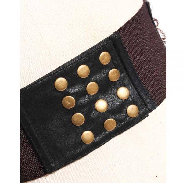 Steampunk Taillengürtel mit Metallelementen und Schnürung