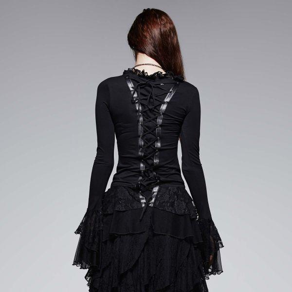 Schwarzes Shirt im Dark Romantic Look mit Spitze