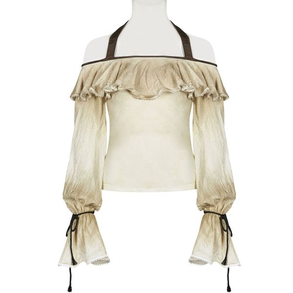Off Shoulder Steampunk Top im Grunge Style mit Volant