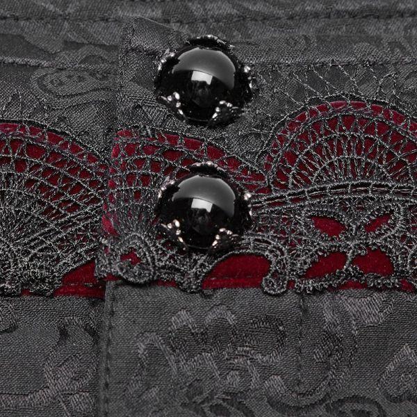 Viktorianische Hose mit Häkelspitze und rotem Samt